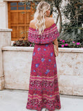 Off Shoulder Print Floral Bohemian Maxi Dress - Red