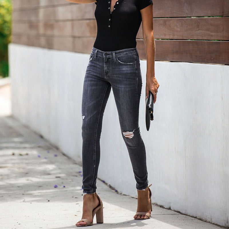 Slim-fit High-waist Ripped Denim Jeans