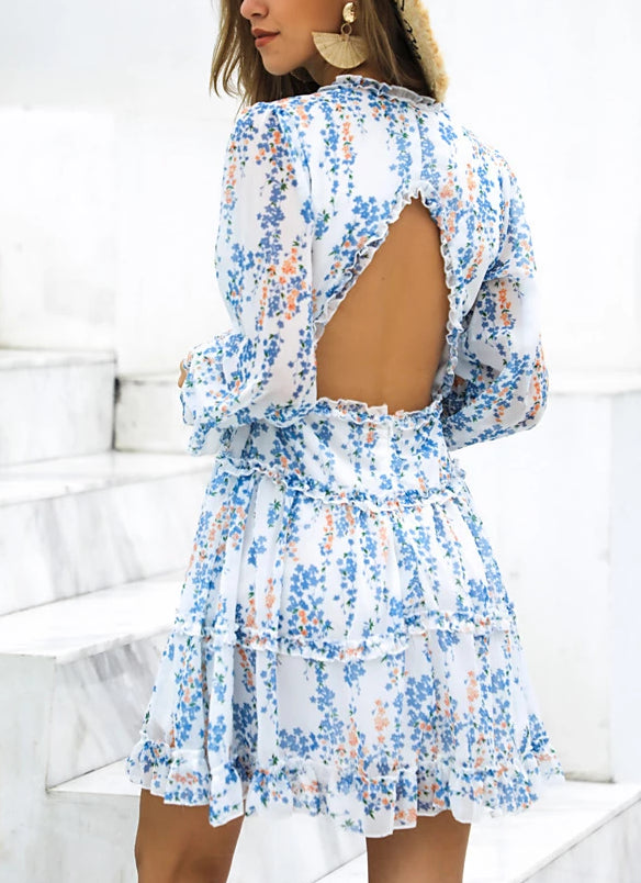Sexy Bohemian Backless Elegant Ruffles Beach Dresses