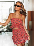 High Waist Ruffle Short Skirt Beach Resort Suit Sets