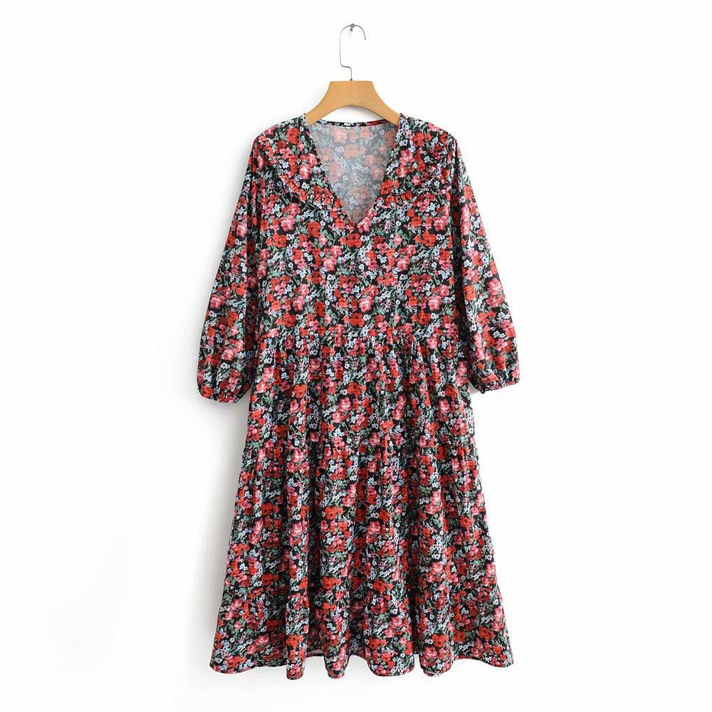 Fall Wildflowers V-neck Long-sleeve dress