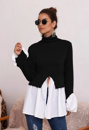 Splicing Asymmetrical Ruffled High Collar Sweatshirt