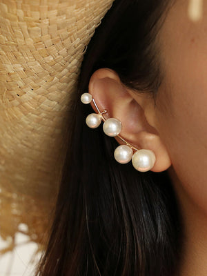 Personality 5 Pearl Earrings Fairy Cold Wind Size Pearl Ear Clip Earrings