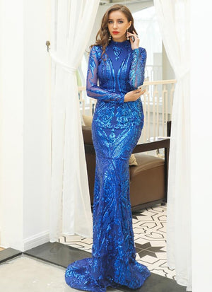 High Neck Sequin Elegant Floor Length Bodycon Evening Prom Dress