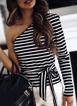 One-Shoulder Striped Fashion Ladies T-shirt