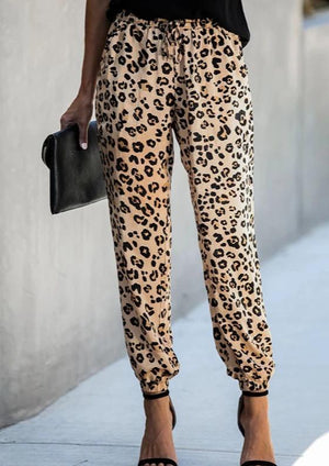 Fashion Printed Drawstring Beam Leg Leopard Casual Pants