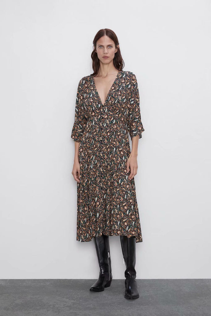 Printed Buttons Three Quarter Sleeve Pleated Hem Tunic Midi Dress