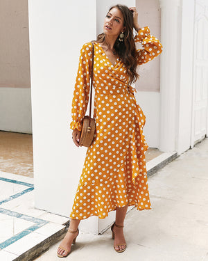 Yellow Polka Dots V Neck Long Sleeve Maxi Dress