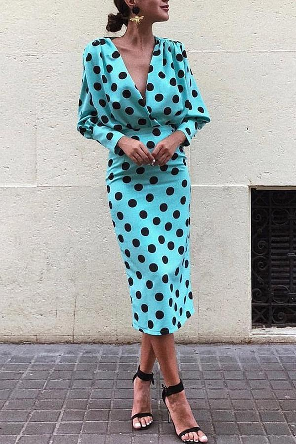Dots Print Plunge Lantern Sleeve Maxi Dress