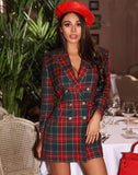 Plaid Double Breasted Fashion Sexy Blazer Dress