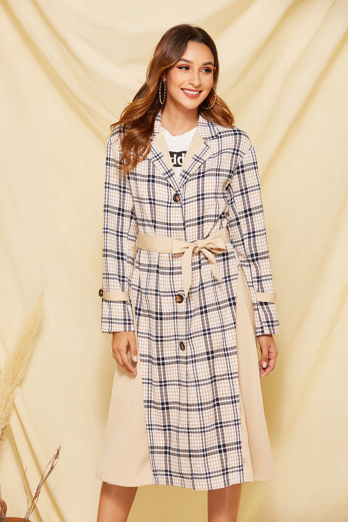 Casual Plaid Lapel Trench Coat