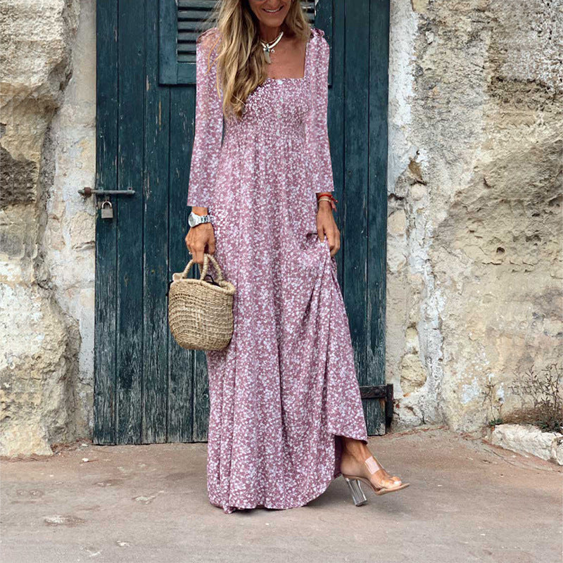 Bohemia Printed Long Sleeves U Neck Maxi Dress
