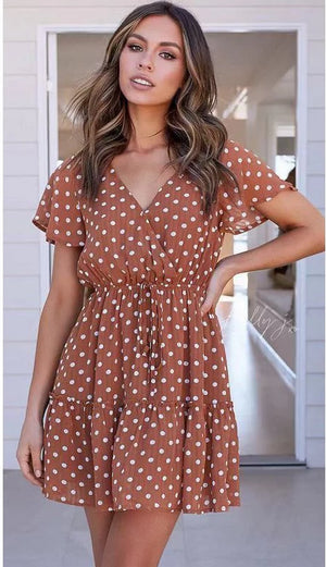 Women's 2019 New V-Neck Polka Dot Dress