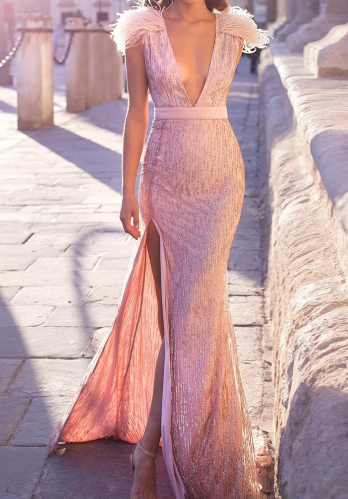 Pink Glittered Backless Split Feather Dress