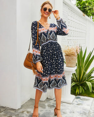 V Neck Long-Sleeved Boho Midi Dress