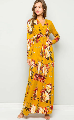 Sexy V-neck Loose Printed Long-Sleeved Dress