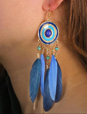 Colorful Feather Turquoise Earrings - 5colors