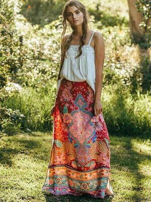 Ornate Floral Printed Gypsy Maxi Skirt