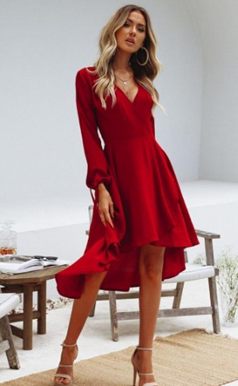Solid Color V-neck Chiffon Daily Dress -2color