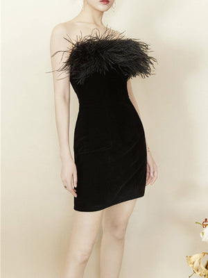 Black Feather Stitching Velvet Tube Top Dress