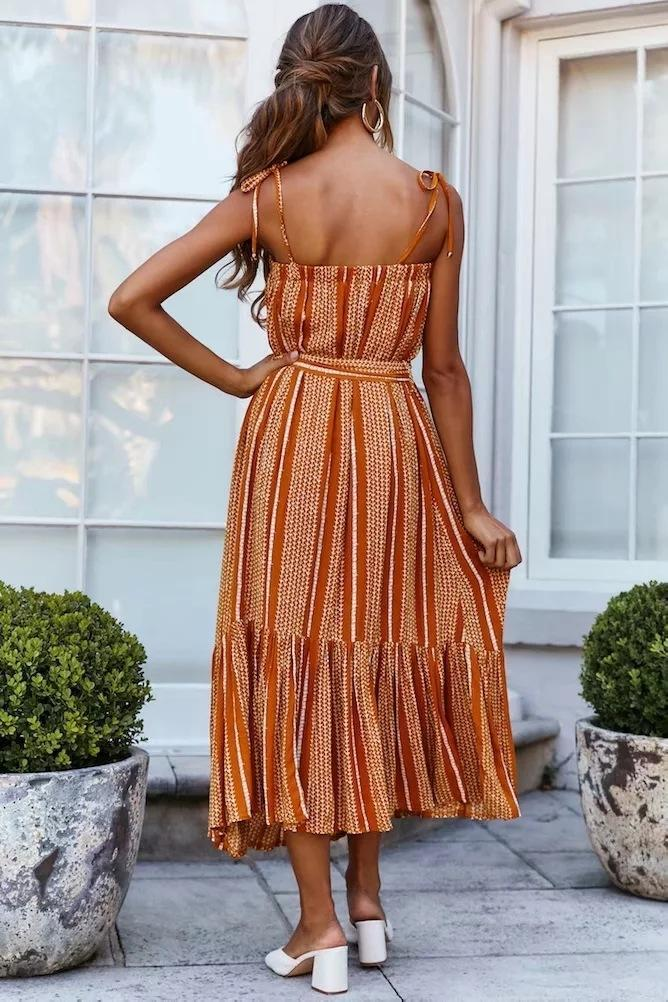 Ruffled sling contrast striped dress