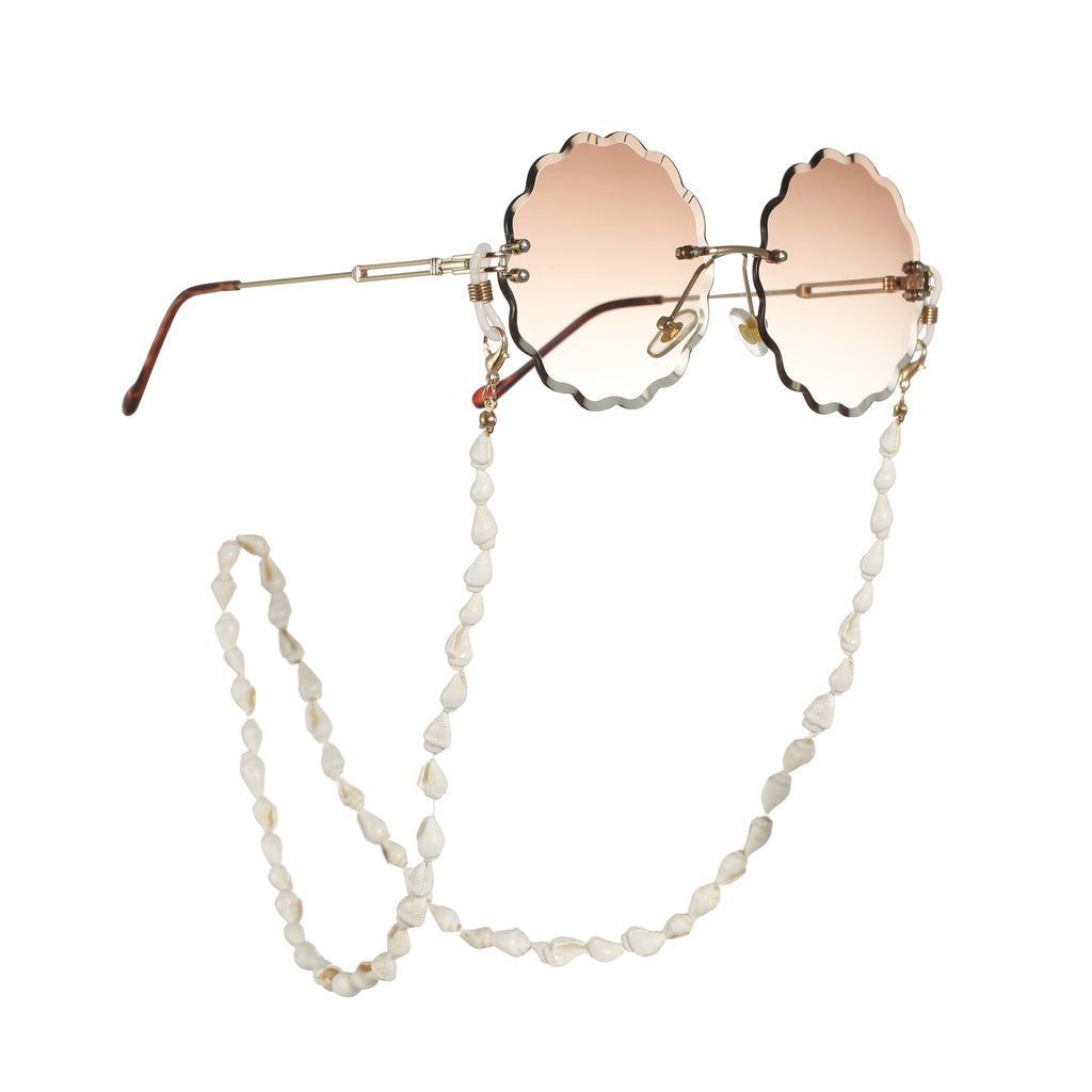 White Small Conch Shell Reading Glasses Chain Cord Holder Neck Strap Rope Necklace Eyeglass