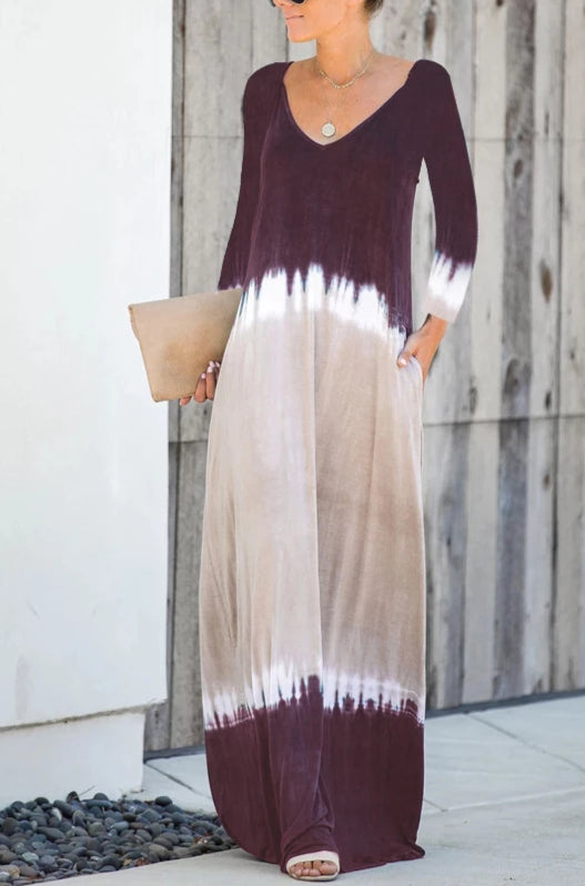 V-neck V-back Long Sleeves Maxi Dress - 3 colors