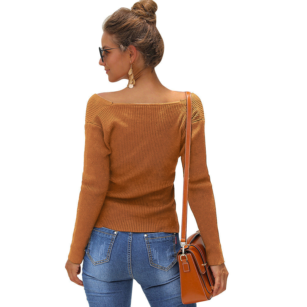 Solid Color Slim V-neck Pullover Sweater