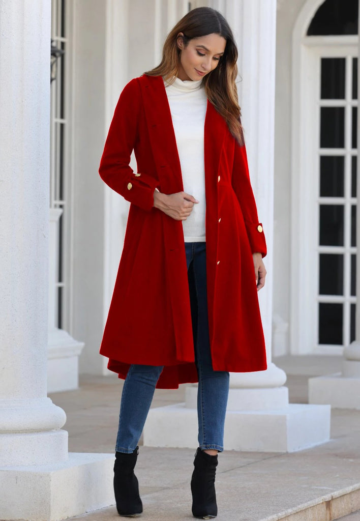 Long Sleeves British Coat - Red