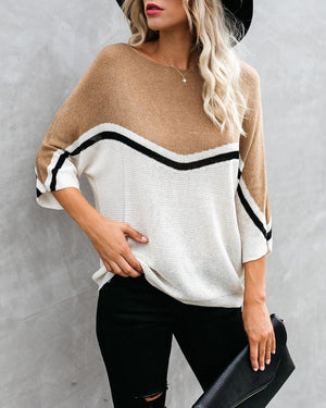 Batwing Sleeve Personality Splicing Sweater