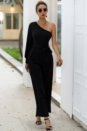 Diagonal Shoulder Tie High Waist Fashion Slim Jumpsuits