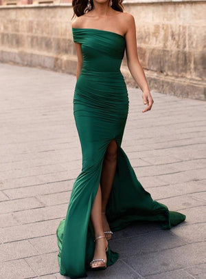 High Split Dresses Female Solid Color Elegant Maxi Dress