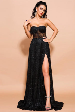 Sexy Off Shoulder glitter High Split Elegant Backless Dress