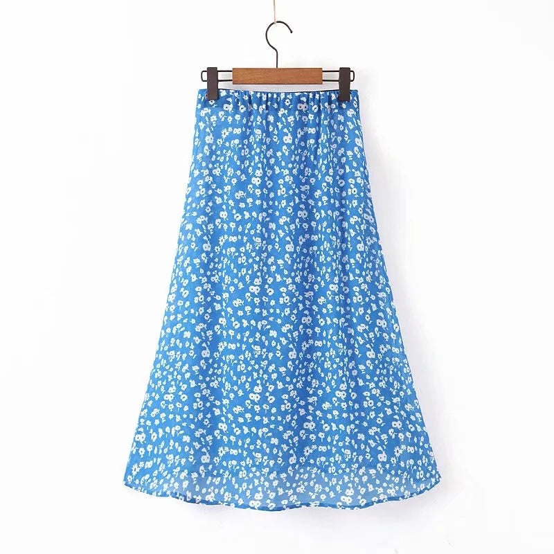 Fashion Floral Printed Cropped Skirt