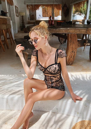 Black Sexy Lace Beach One Pieces