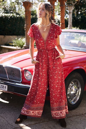 Casual Boho Print Red Jumpsuit