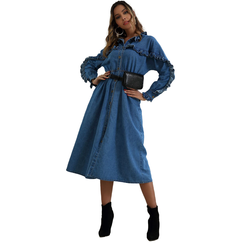 Stitching Falbala Slit Denim Midi Dress