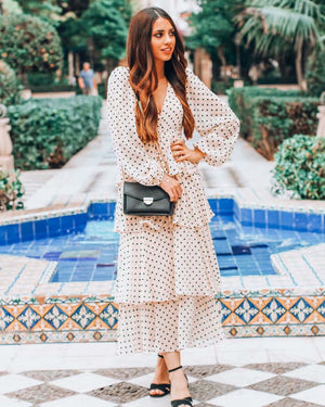 Polka Dot Dress Belted V-neck Maxi Dress