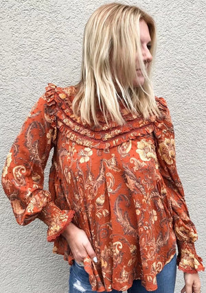 Bohemian Lace Openwork Printed Boho Blouse