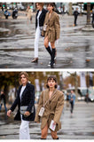 Dark Khaki Color Casual Blazers With A Belt