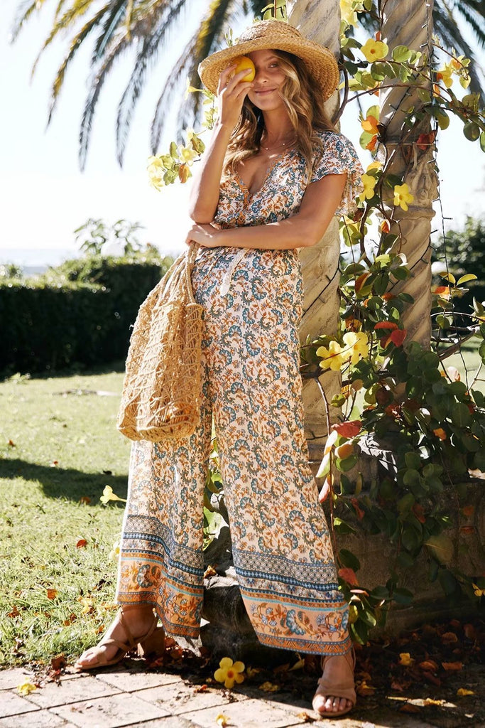Fashion Boho Floral Printed Jumpsuit