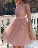 Pink Sequin Glitter Sparkly Backless Prom Mini Dress