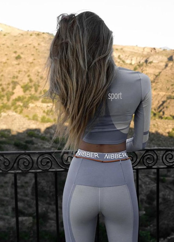Fitness two pieces set tracksuit long sleeve crop top letters print elastic skinny leggings sportswear slim outfit