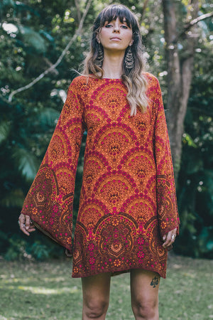 Short Boho Printed Mini Dress - Orange