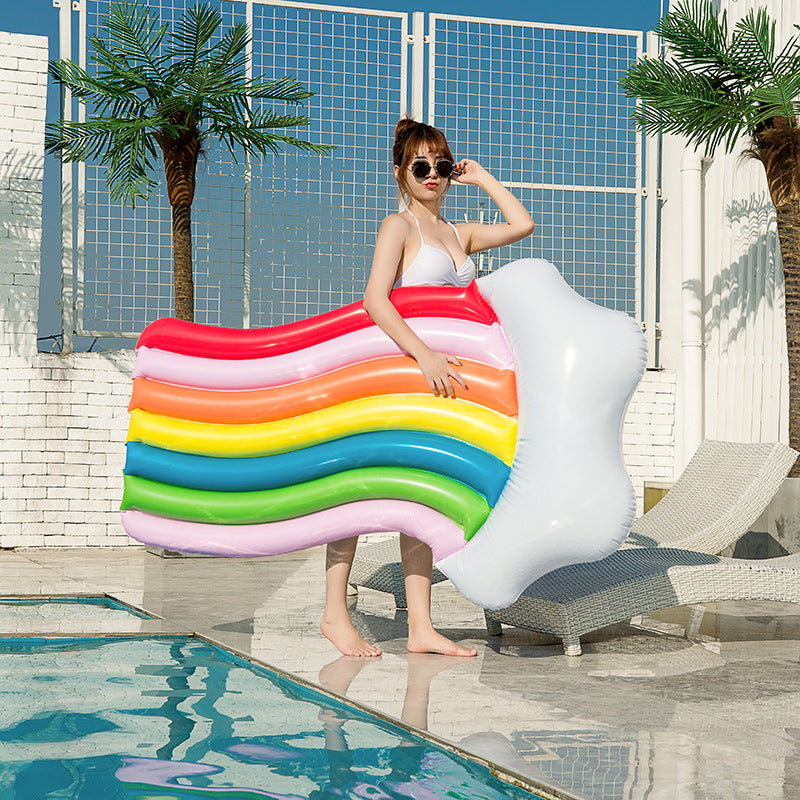 Inflatable Rainbow Lounge Chair Water Floating Row
