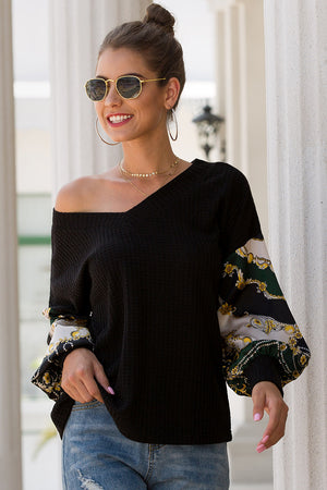 Black Fashion V Neck Casual Sweatershirts