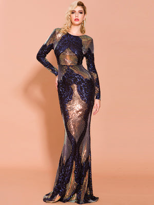 Sexy O Neck Long Sleeve Backless Sequin Dresses Female Maxi Elegant Multi Dres
