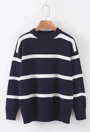 Loose Navy Stripe Pullover Fashion Sweater