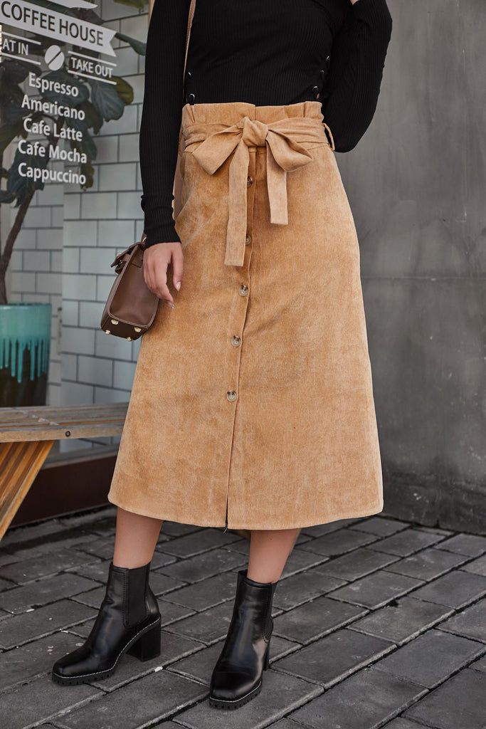 Corduroy Button Khaki Casual Skirts