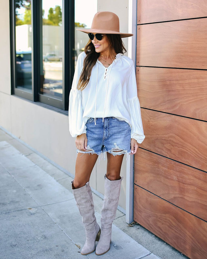 Shirt Solid Color V-neck Lantern Sleeve Long Sleeve Top